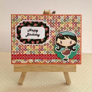 Handmade Card - Girl holding Cupcake - Happy Birthday