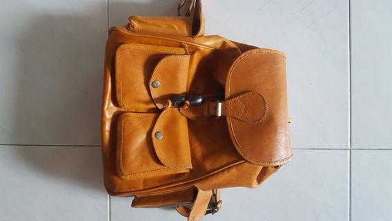 Full calf leather backpack handmade