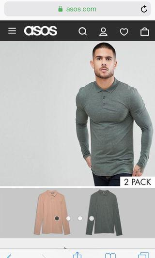 BN ASOS DESIGN muscle fit polo 2-pack