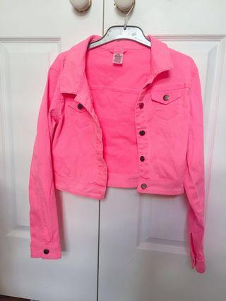 ♡ Cropped Pink Denim stretch jacket