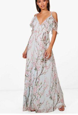 Strappy floral cold shoulder maxi dress