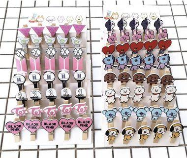 (PO) 5pcs wooden clips set