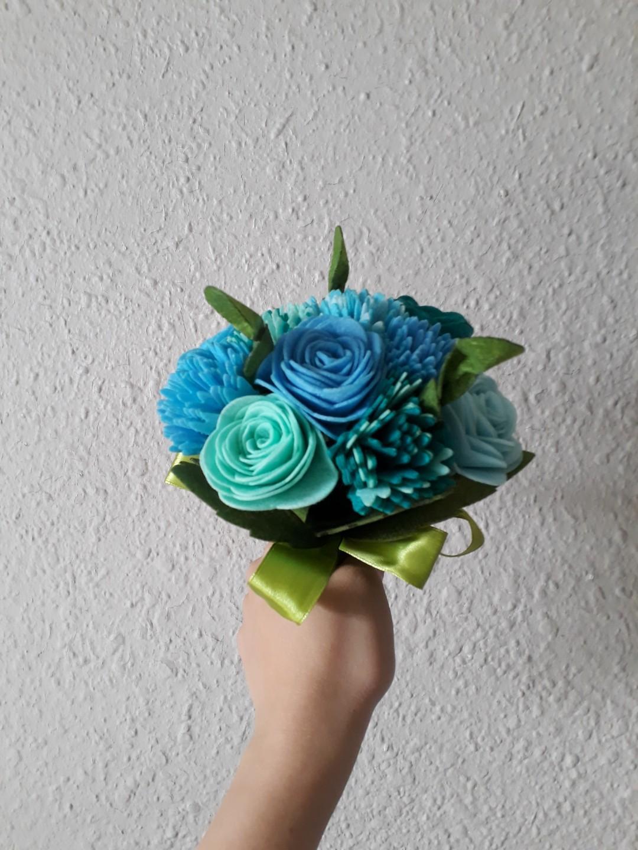 12 stalks Blue Felt Roses Flower Wedding Bouquet