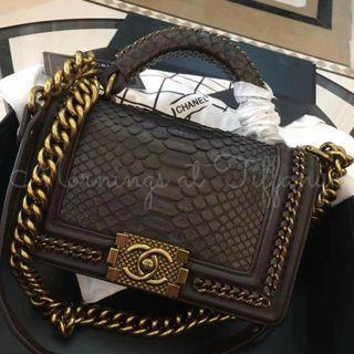 Chanel Le Boy Top Handle Python