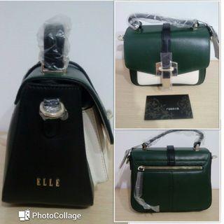 🚚 【全新】ELLE 牛皮革 橄欖綠 肩背手提側背包