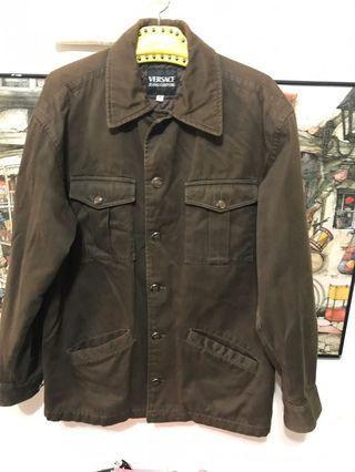 義大利製Versace牛津布棉製外套,S,肩55、長77、袖62公分