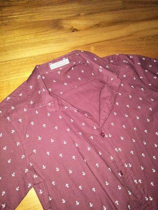 Maroon crossover shirt stiff top