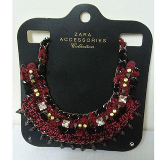 NEW ZARA RED/BLACK WOVEN BEADED STATEMENT NECKLACE