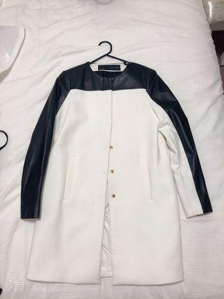 Zara white with black leather jacket