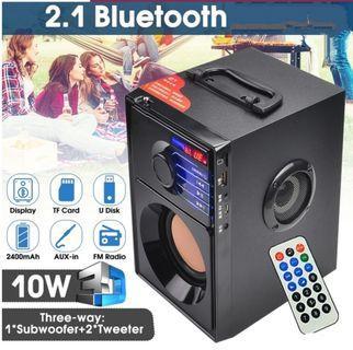 A10 2.1CH立體聲木質低音炮FM收音機戶外無線藍牙音箱揚聲器支持U盤存儲卡3.5mm AUX-IN