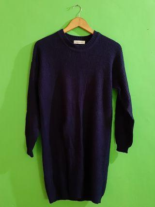 #BAPAU Sweater Rajut Mayoutfit Biru Dongker