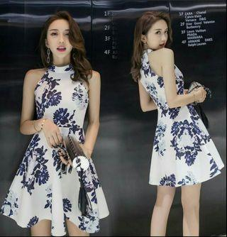 Ready stock _Floral Dress off shoulder sleeveless