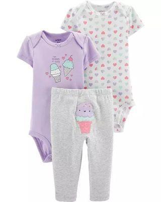 Brand New Instock Carter's 3 Pc Little Character Set Rompers Onesies Bodysuit Pants Girls