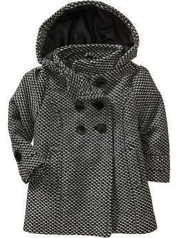 Tweed Hooded Peacoat for Girls