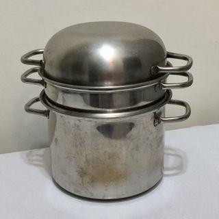 全新 蒸鍋 煮鍋 不銹鋼兩層三用 家用 多功能 鍋具
