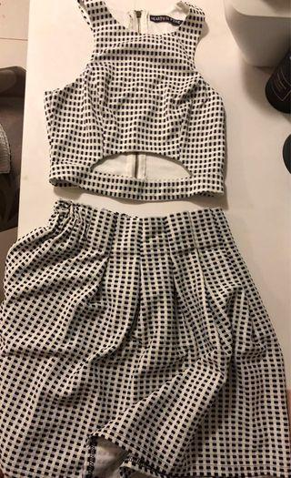 Top and skirt set size 8 black and white