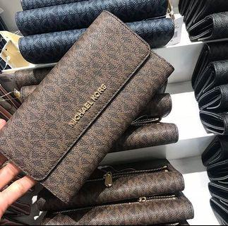 Micheal Kors JST Trifold Wallet Siggy Brown/Mulberry