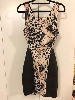 Dotti faux leather and leopard dress. Worn once