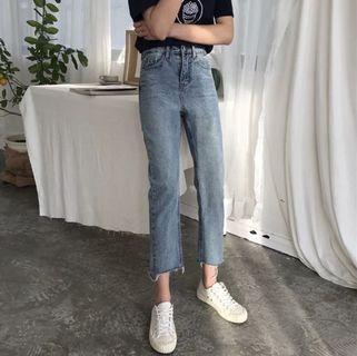 🚚 全新✨韓風直筒牛仔長褲 藍/黑 M號