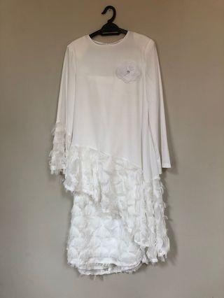 #GayaRaya Jovian White Baju Kurung Moden