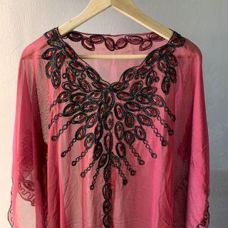 Baju Raya Maroon Kaftan with Beads