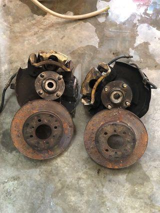 Satria gti brake caliper knuckle and disc