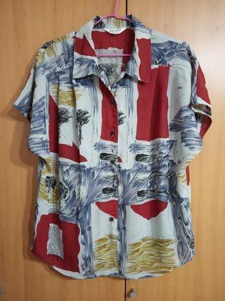 免運。日本古著復古藝術精緻雪紡短袖襯衫