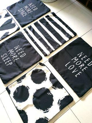 Cushions & Linens Cover (Set of 6) black & white LOVE /SPACE