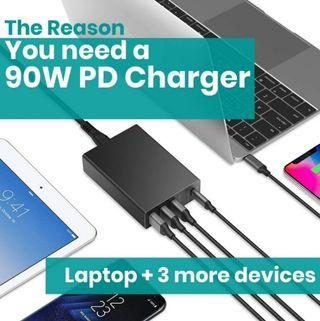 1🔥Klearlook USB-C PD Charger, 90W 4 Ports Charger with USB-C Power Delivery 60W + Dual 18W QC Quick Charge 3.0+12W iSmart USB Ports, Desktop Mains Plug Wall Charging Station with Type-C to Type-C Cable