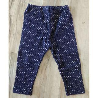 Uniqlo baby - dark navy blue polka dot leggings (for babies about 70-80cm)