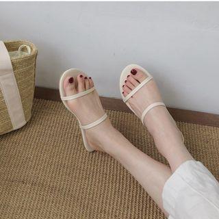 極簡雙細帶涼鞋 / 韓國簡約線條涼拖鞋 / 一字帶平底鞋度假沙灘鞋 / 韓妞簡單百搭夏天海邊鞋