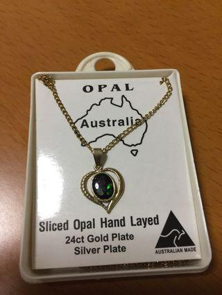Sliced opal hand layered 24ct gold plate silver plate