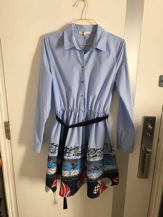 Light Blue pattern dress -size 2