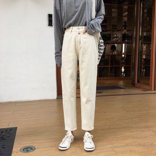 奶油白色高腰鬆緊直筒褲 / 韓國修身單寧丹寧牛仔褲 / 寬鬆排扣長褲九分褲男友褲寬褲 / 大尺碼S-XL