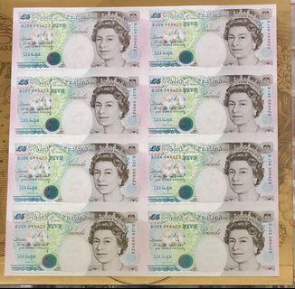 Bank of England: QE-II Five pounds no-089423 8 in one.