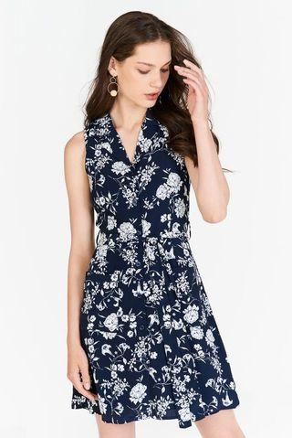 TCL Freya Floral Printed Dress in Navy