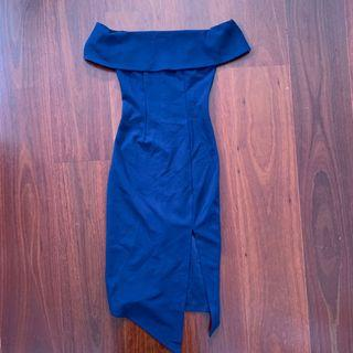 Blossom Navy Offshoulder Midi Dress Size 6