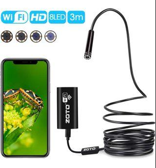 1🔥ZOTO WIFI Inspection Camera, UPGRADED 2MP 720P HD Endoscope, Waterproof Wireless Borescope, 3M 8 LED Snake Camera for iPhone Android Windows and tablet