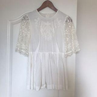 New Rosebullet white lace embroidered top
