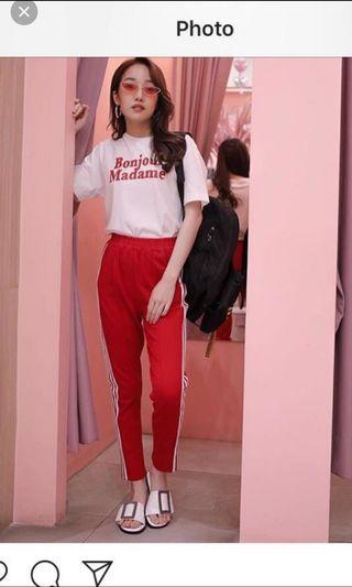 Red striped ulzzang trackpants