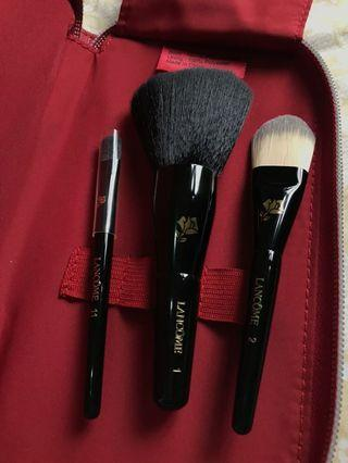 lancome make up brushes with bag