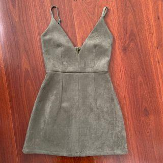 Luvalot Khaki Suede Mini Dress Size 6