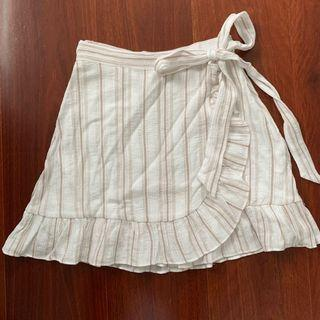 Lyon White Stripe Wrap Mini Skirt Size 6
