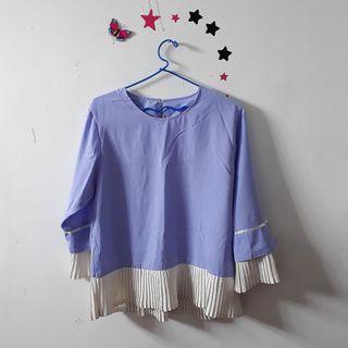 Blouse blue + hijab motif bunga
