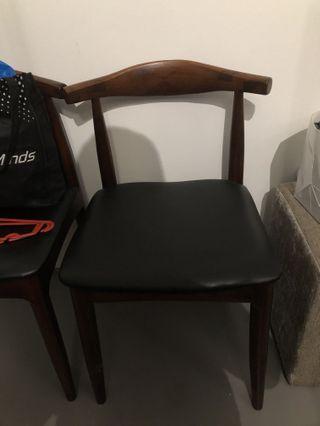 Nordic black & brown wood chair