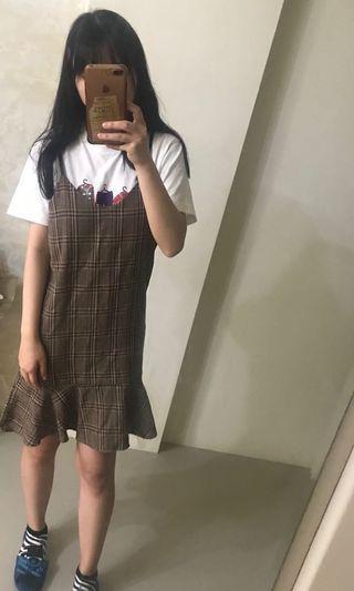 🚚 咖啡 駝色 格紋魚尾連身裙 吊帶裙