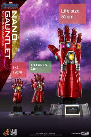 SOLD OUT Hot Toys Nano Gauntlet Hulk Avengers Endgame Life size and 1/4 all 3 gauntlets