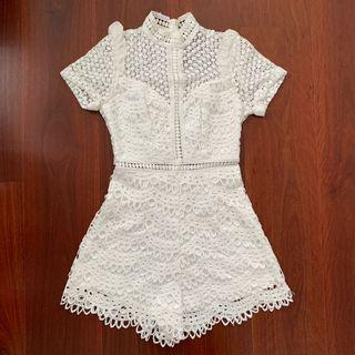 MorningMist White Lace Playsuit Size 6