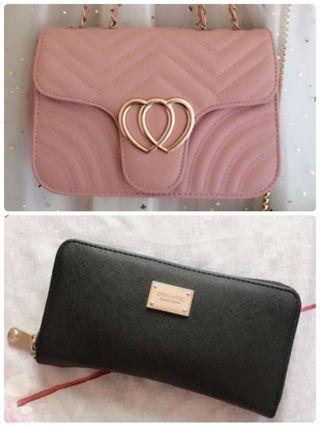 (售出)Zara長夾+粉鏈條包包