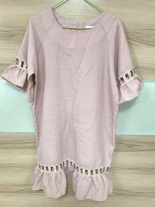 韓貨 寬鬆 挺版造型洋裝 粉